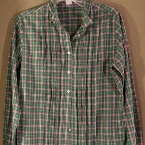 J. Crew Women Green Plaid Button Down Shirt Size L